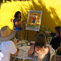 Flor Teaching a Group Spanish Language Class